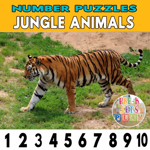 number strip puzzle cover of a tiger. This counting game activity helps kids practice number order and also helps identify other jungle animals.
