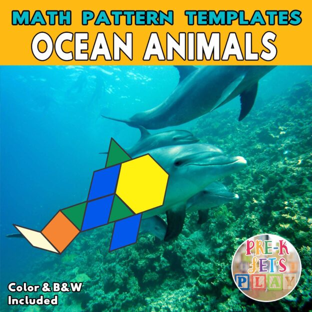 Colored math pattern blocks template of dolphin