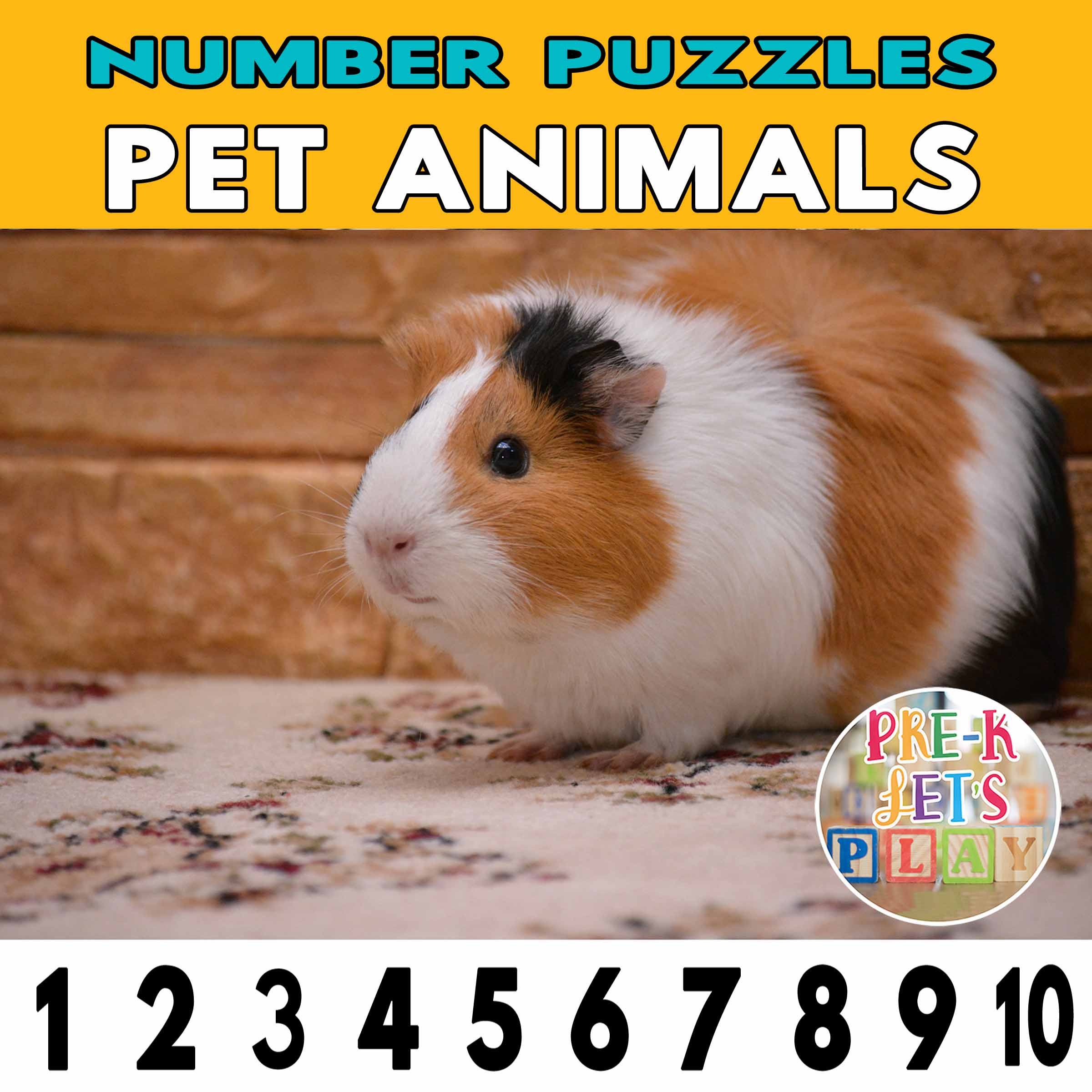 number strip puzzle cover of a guinea pig. This number game activity is helps kids practice counting from 1-10