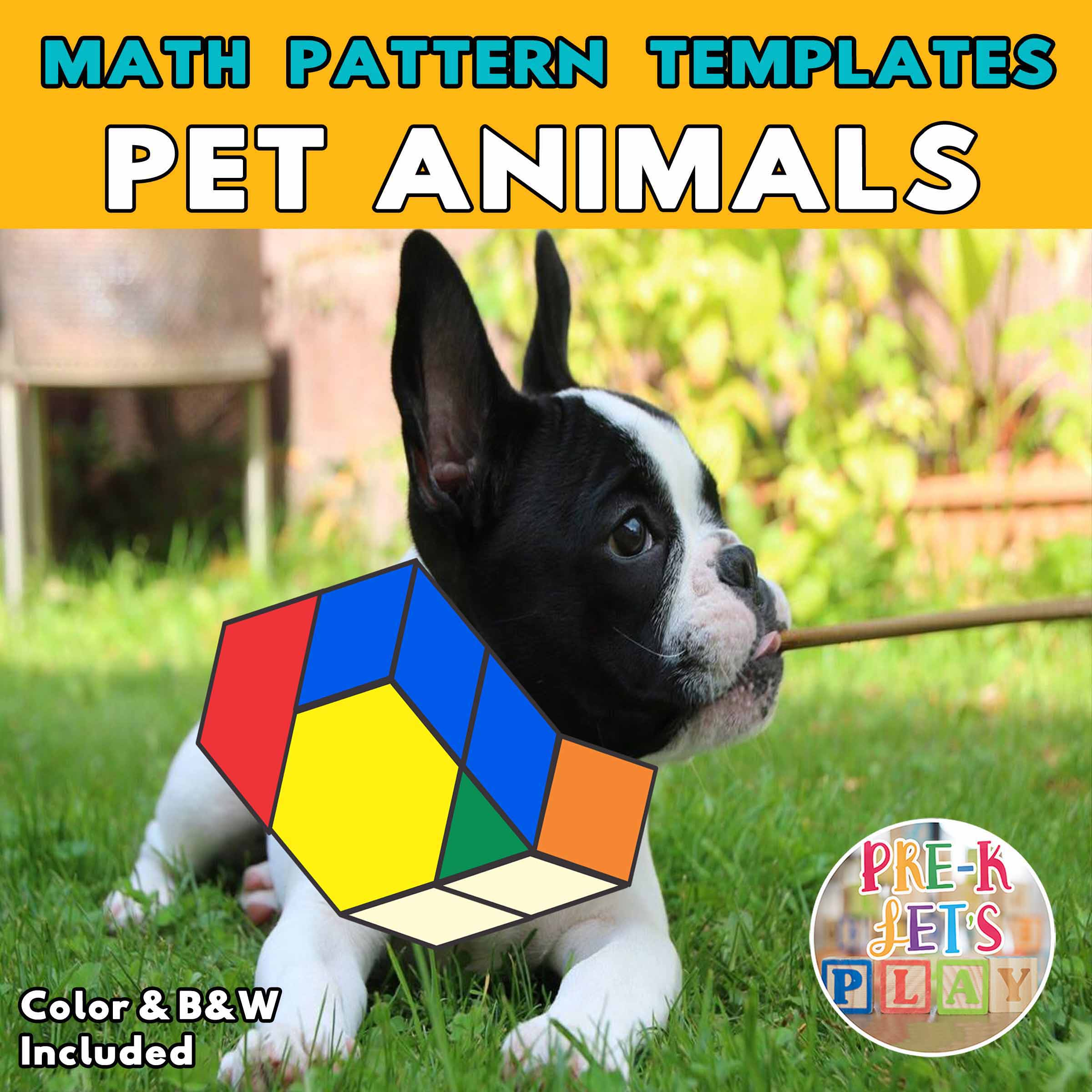 Cover of dog with the body made up of colored math block patterns