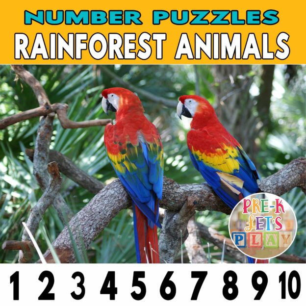 number strip puzzle cover of 2 colorful parrots. This counting game activity helps kids practice number order and identify other rainforest animals