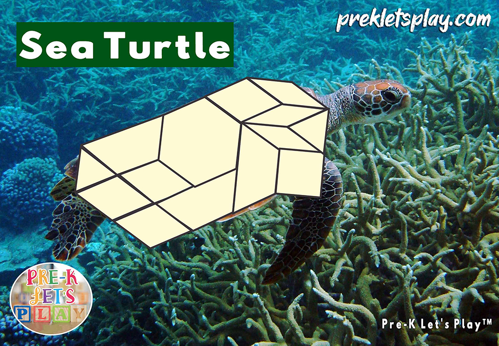 black and white pattern block math activities of a sea turtle's body