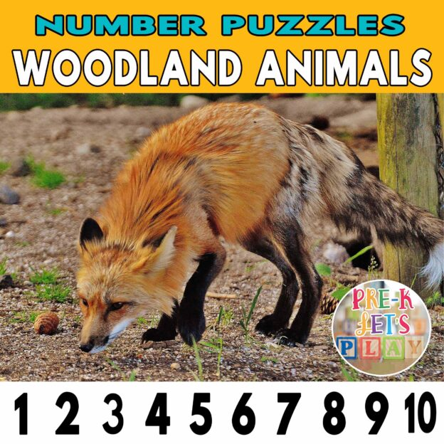number strip puzzle cover of a fox. This counting game activity helps kids practice number sequencing and identify other woodland animals.