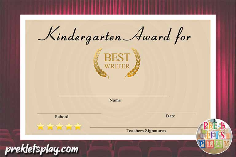 Superlatives awards for Kindergarten graduation. This end of the year award certificate is for the best writer in kindergarten.