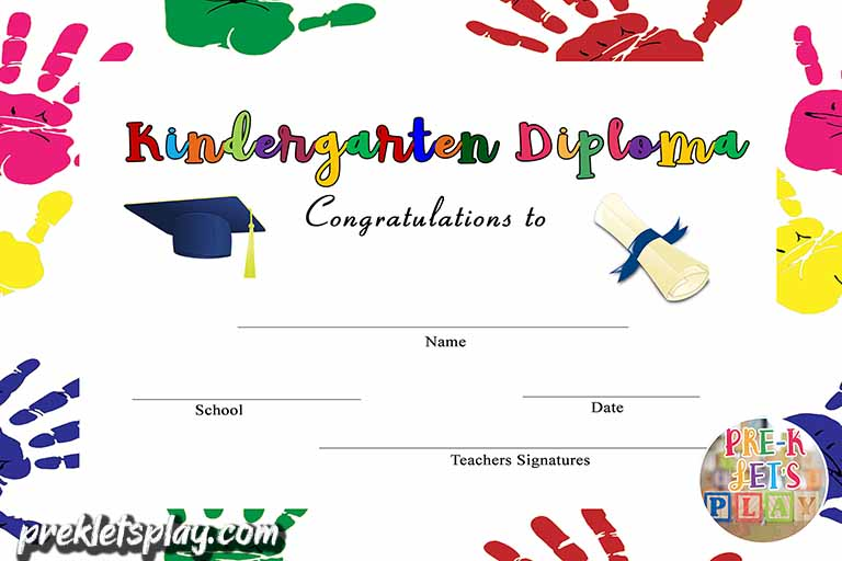 White version of Kindergarten graduation certificate template with multicolor hands as its border.