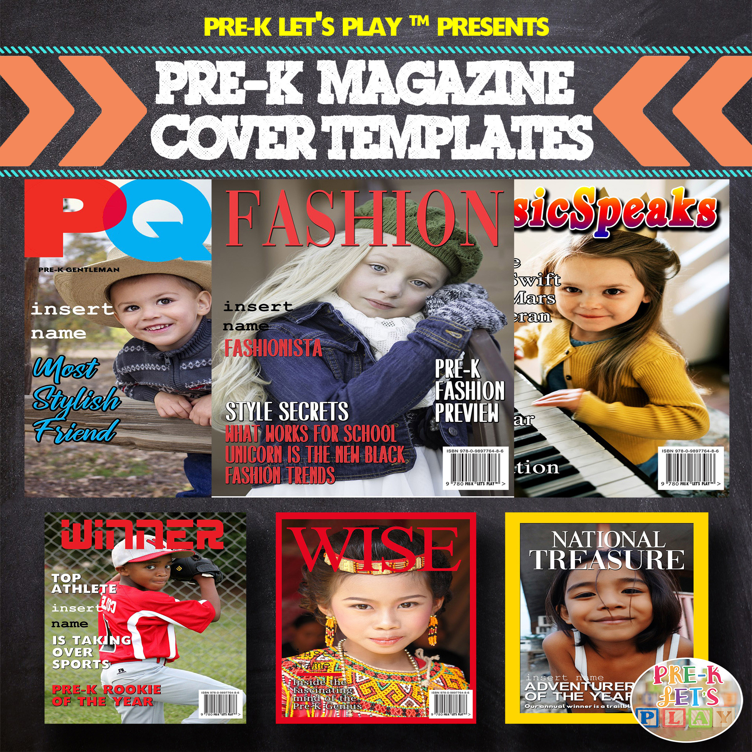 Make your own magazine covers of your students with these magazine cover templates.