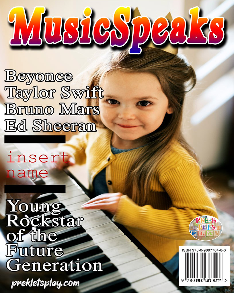 Pretend magazine cover of a young girl playing the piano. Using magazine cover templates with images of your students make great gift ideas for parents and families.