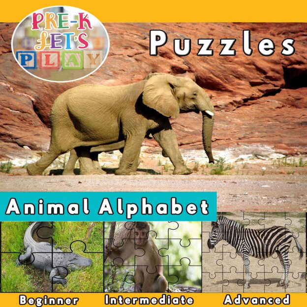 puzzle activities for preschool that focuses on the theme of animals alphabet.
