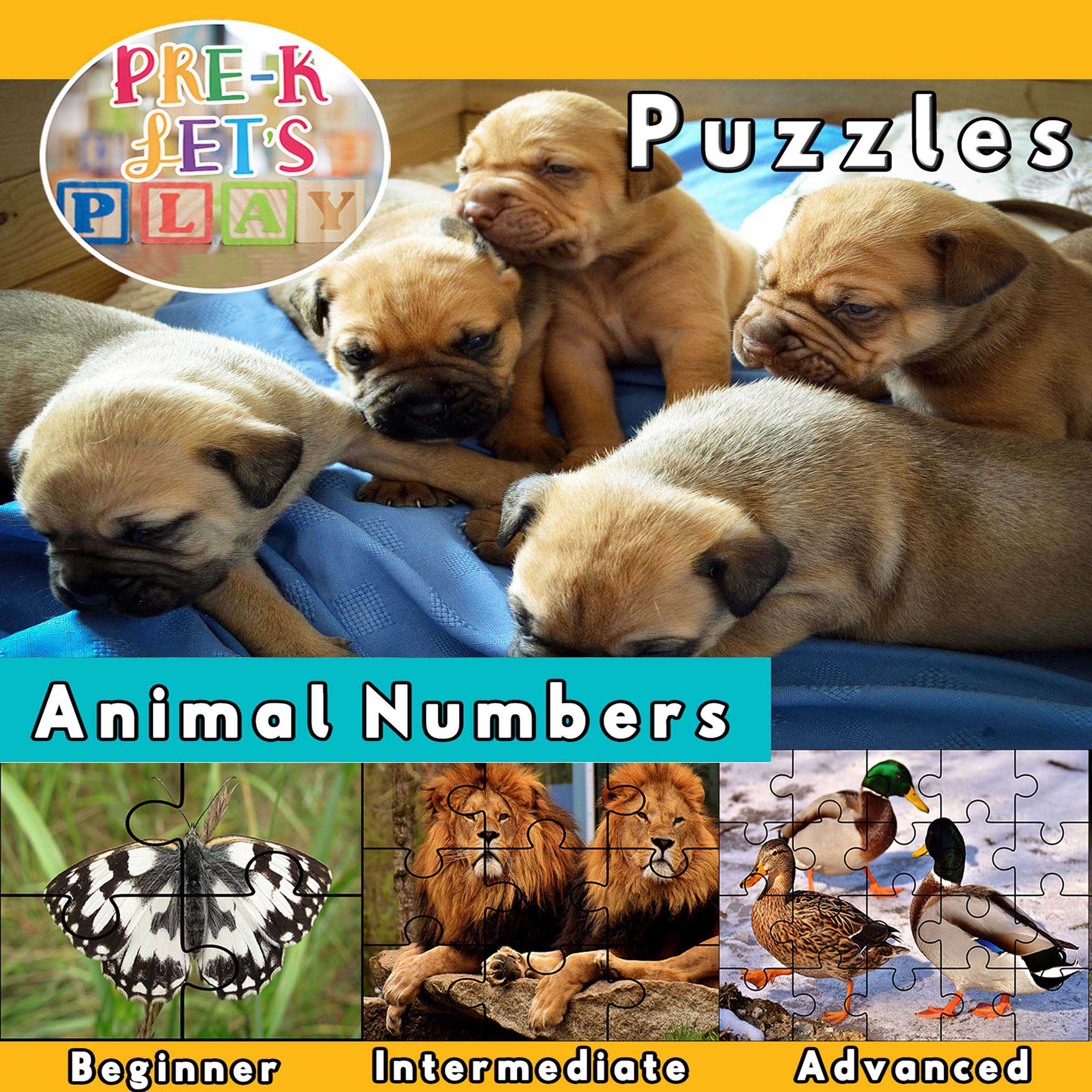 picture puzzles for preschool that focus on the theme of animal numbers