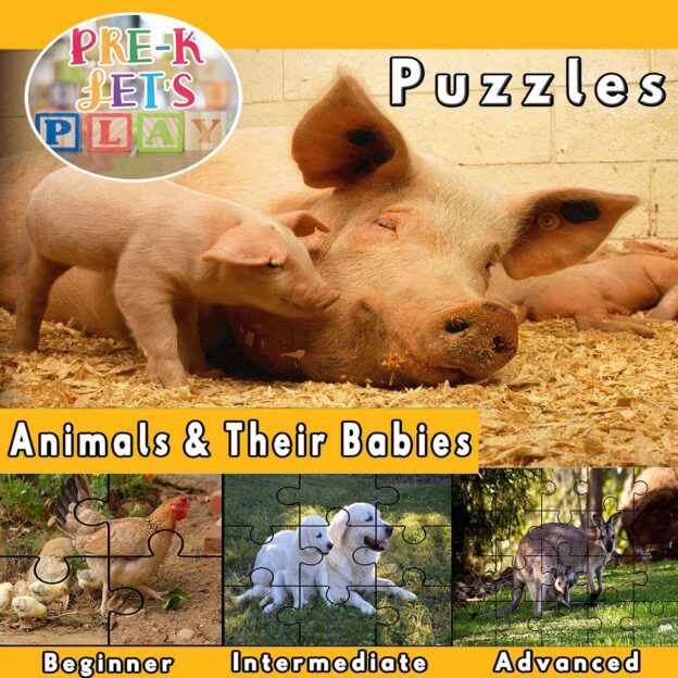 puzzle activities for preschool that focuses on the theme of animals and their babies.