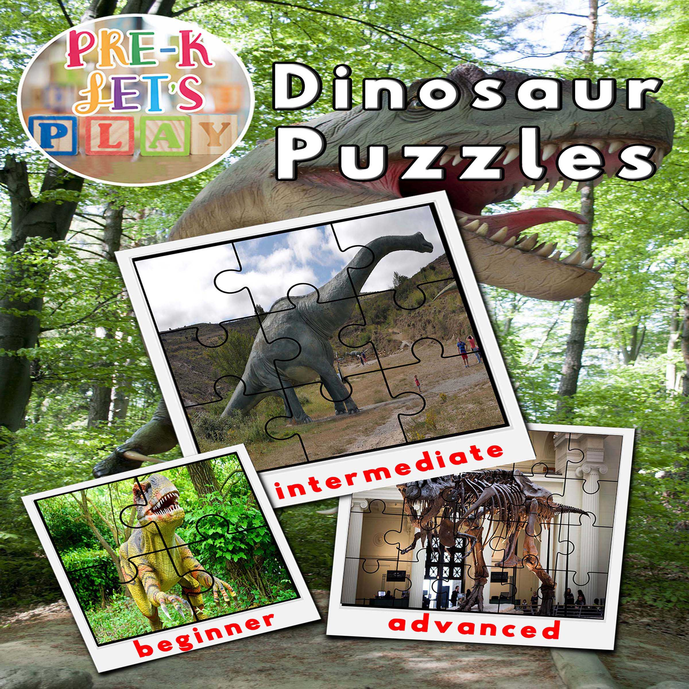 Dinosaur preschool activities. Cover of printable picture puzzles for preschoolers to practice improving their fine motor skills.