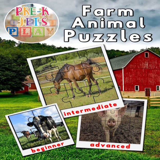 Preschool farm animals theme. Cover of printable picture puzzles for preschoolers to practice improving their fine motor skills.