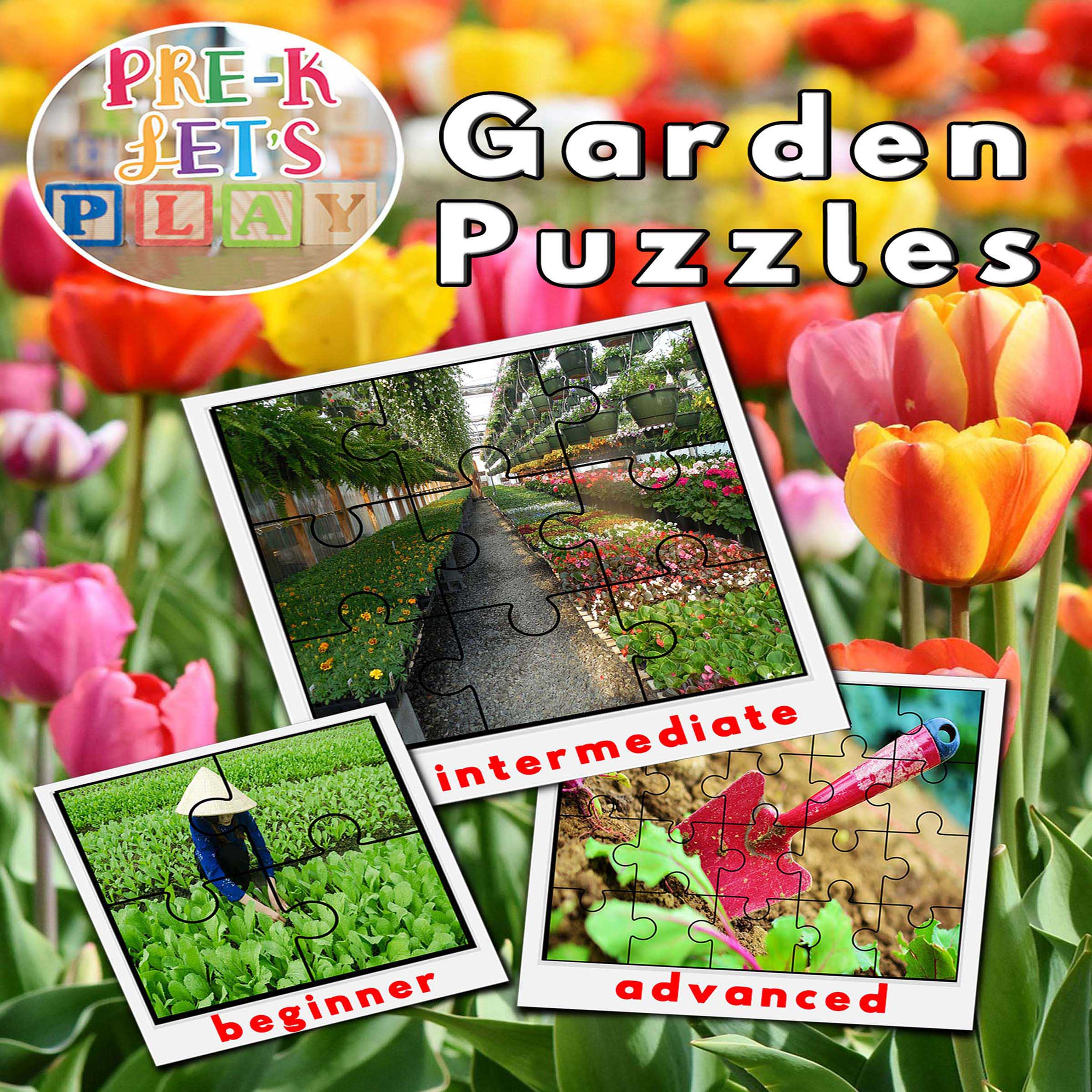 Preschool garden theme. Cover of printable picture puzzles for preschoolers to practice improving their fine motor skills.