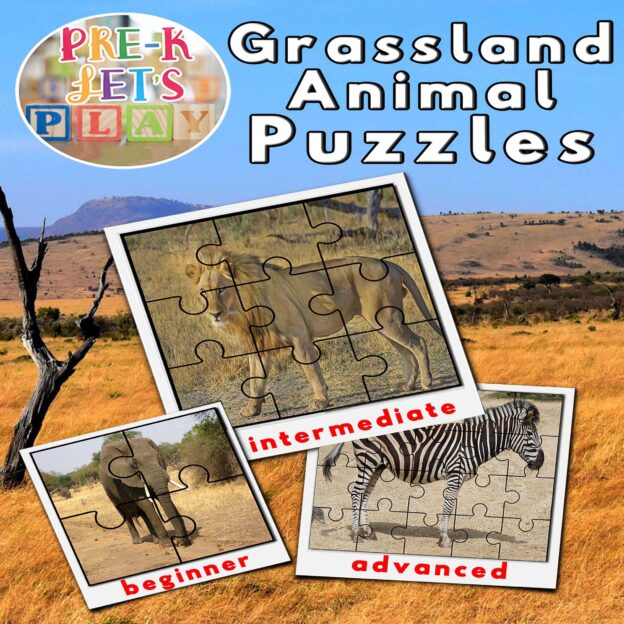 Preschool grassland animal theme. Cover of printable picture puzzles for preschoolers to practice improving their fine motor skills.