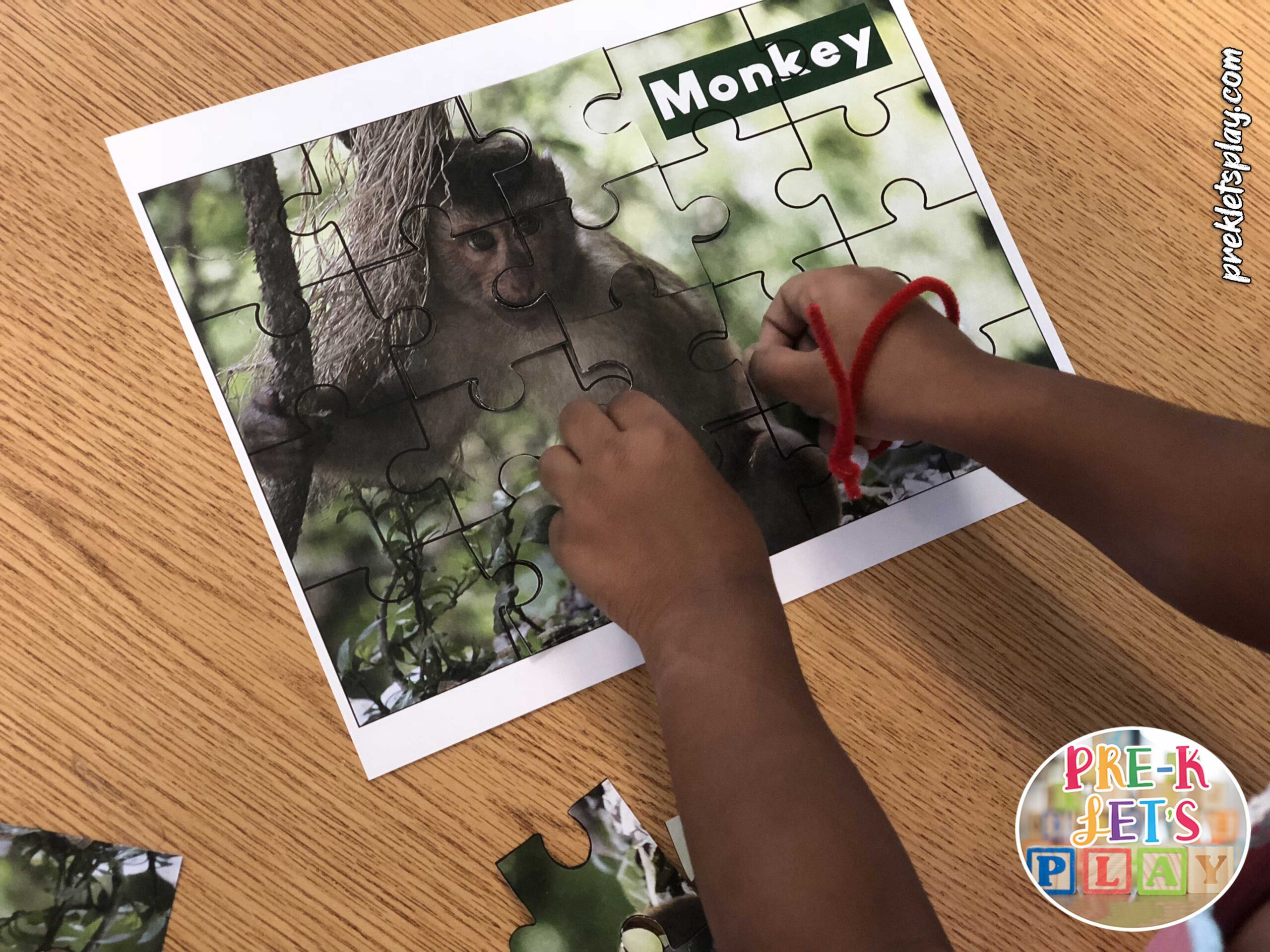 Preschooler playing and trying to complete this monkey puzzle printable. This make fine motor skills practice fun.