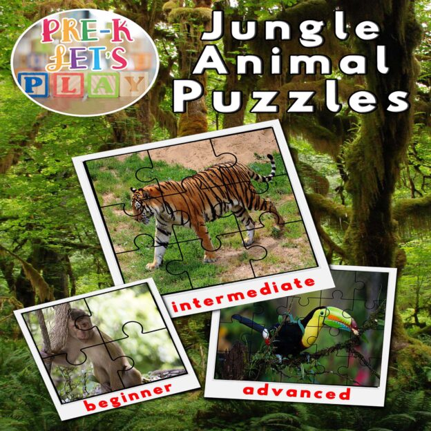 Preschool Jungle animal theme. Cover of printable picture puzzles for preschoolers to practice improving their fine motor skills.