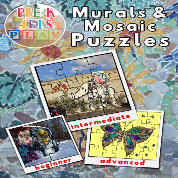 murals and mosaics theme puzzle activities for preschool.