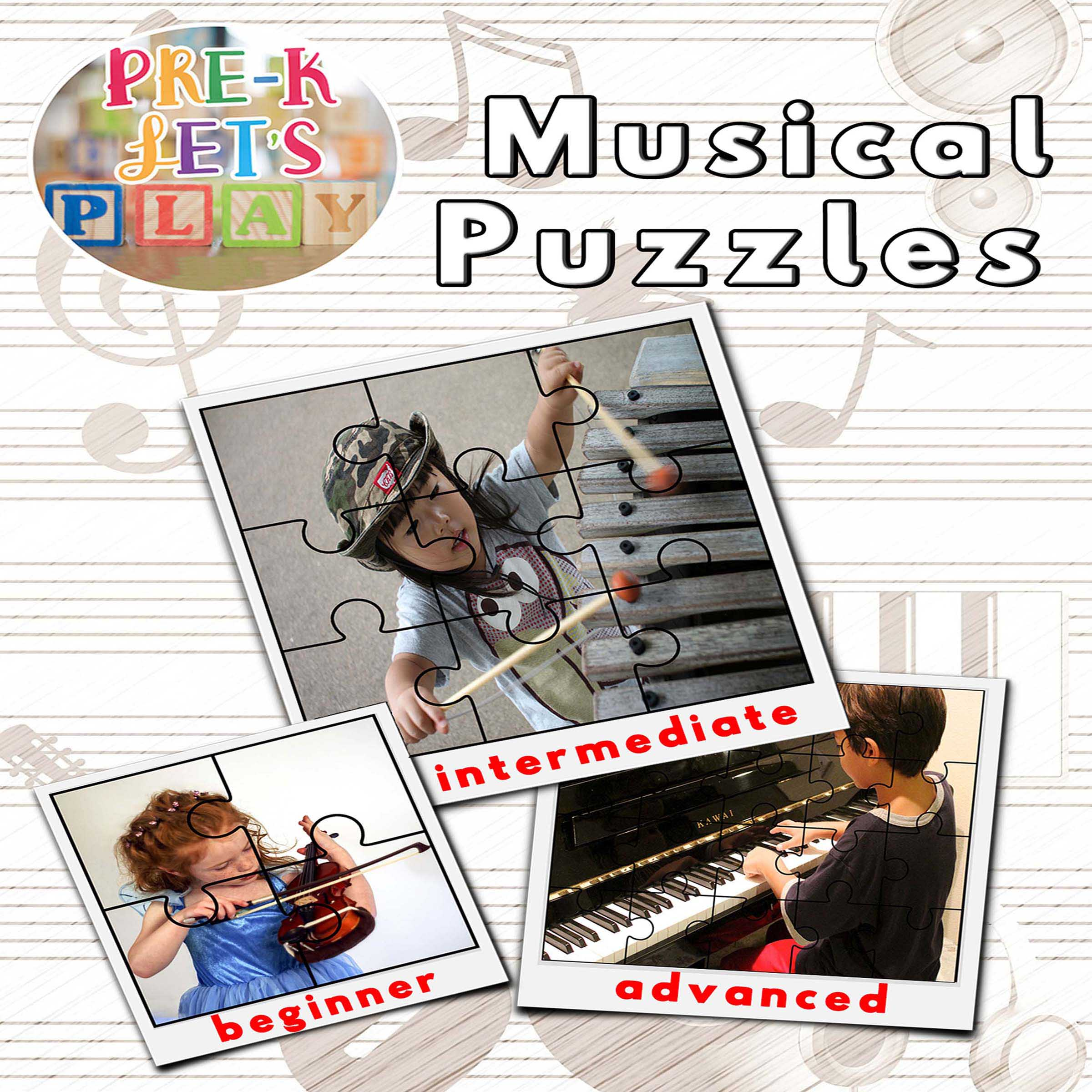 preschool music puzzle theme that focuses on musical instruments.
