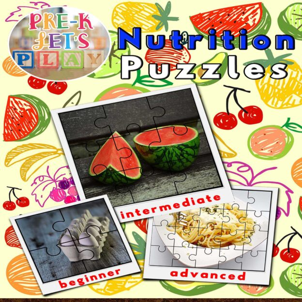 puzzle activities for preschool that focuses on the theme of food and nutrition.