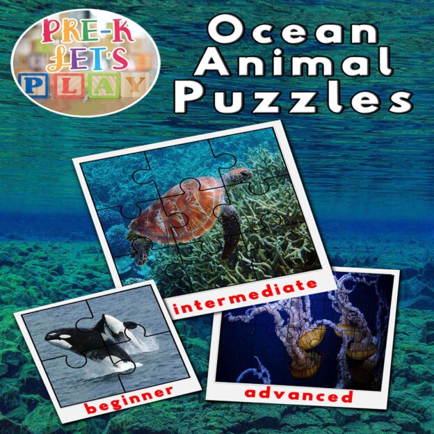puzzle activities for preschool that focuses on the theme of ocean animals.