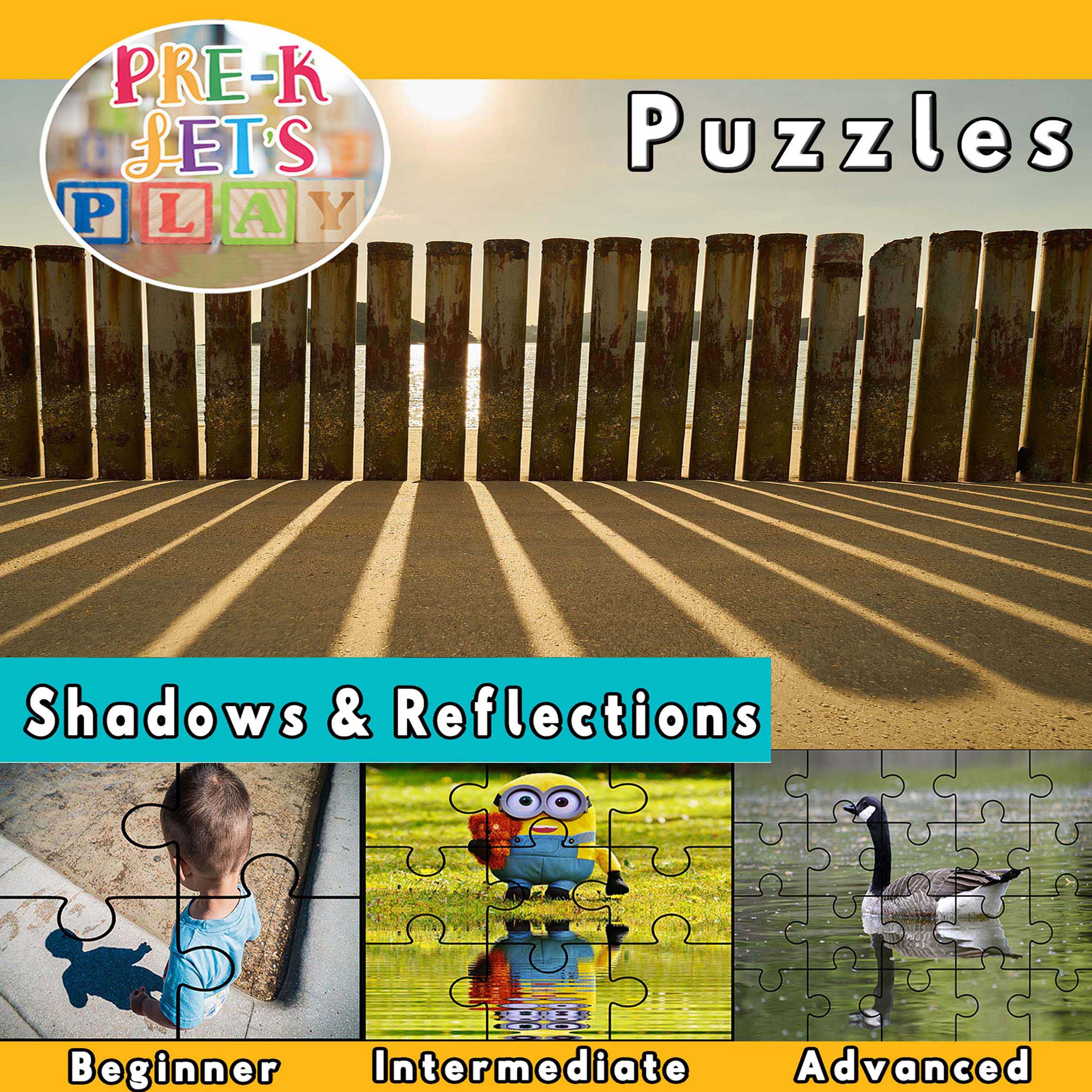 puzzle activities for preschool that focuses on the theme of shawdows and reflections.