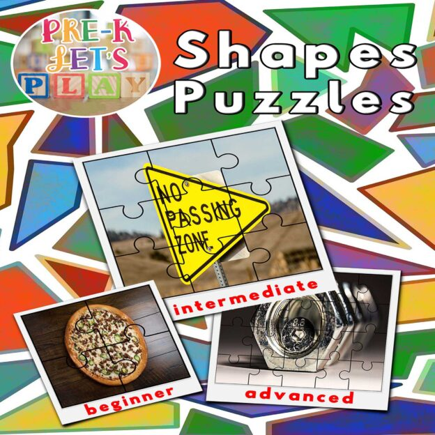 puzzle activities for preschool that focuses on the theme of shapes.