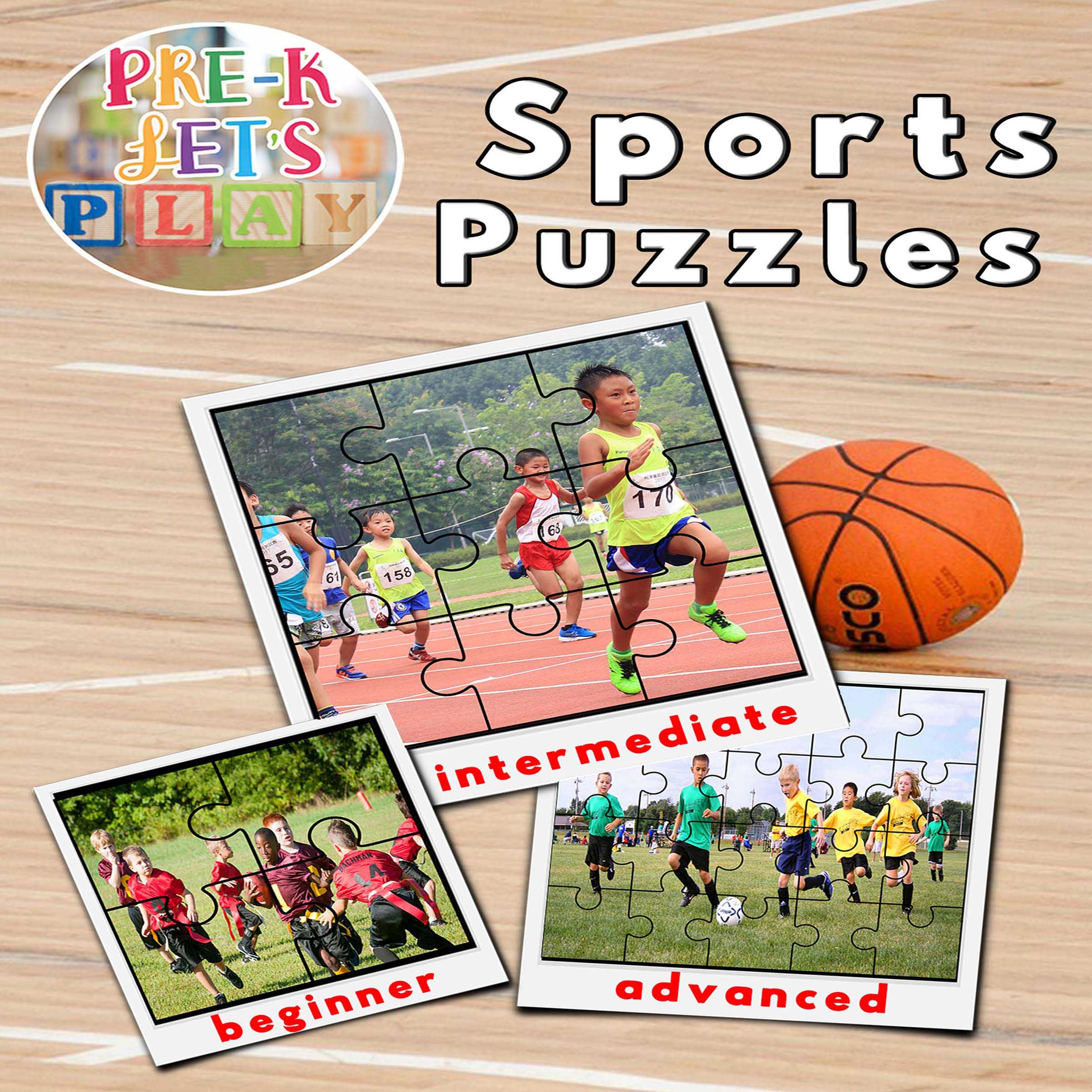 puzzle activities for preschool classrooms that focuses on the theme of sports.