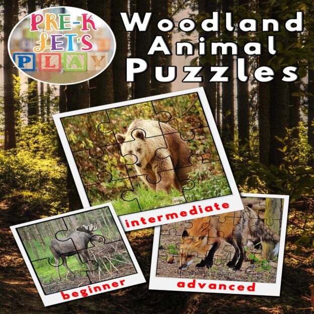 puzzle activities for preschool that focuses on the theme of woodland animals.